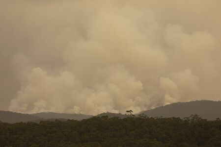 Smoke from a large bushfire in The Blue Mountains in Australia