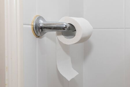 White toilet paper on a chrome hanger Stock Photo