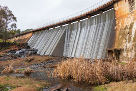 The reservoir wall at Lake Canobolas in Orange in regional New South Wales in Australia