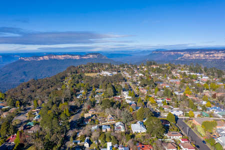 Aerial view of Katoomba and the surroundings in The Blue Mountains in Australia