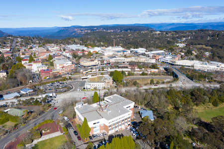 The town of Katoomba at the top of The Blue Mountains in Australia Stock Photo