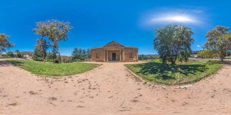 Spherical 360 panorama photograph of the Hartley Courthouse at the Hartley Historical Village near Lithgow in the Central Tablelands in regional New South Wales in Australia Stock fotó