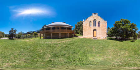Spherical 360 panorama photograph of Saint Bernards Catholic Church at the Hartley Historical Village near Lithgow in the Central Tablelands in regional New South Wales in Australia Stock fotó