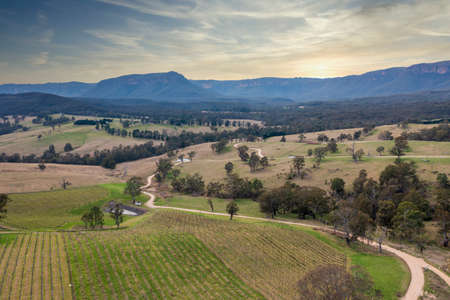 Drone aerial photograph of vineyards and forest in Megalong Valley in the Blue Mountains in Australia