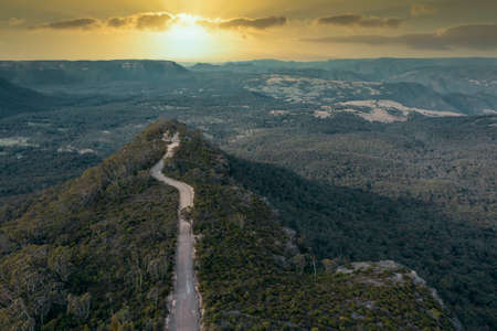 Drone aerial photograph of Hargraves Lookout and forest in Megalong Valley in the Blue Mountains in Australia