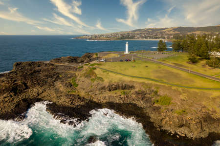 Drone aerial photograph of the Lighthouse in Kiama on the south coast of New South Wales in Australia