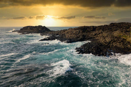Drone aerial photograph of Blow Hole Point in Kiama on the south coast of New South Wales in Australia Banque d'images