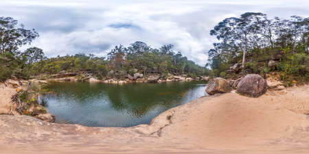 Spherical panoramic photograph of Glenbrook Creek near Jelly Bean Pool in the Blue Mountains in New South Wales in Australia
