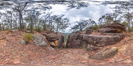 Spherical panoramic photograph of Glenbrook Creek from the cliff  in the Blue Mountains in New South Wales in Australia