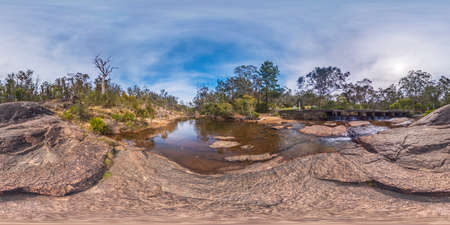 Spherical panoramic photograph of Megalong Creek near camp grounds in the Blue Mountains in New South Wales in Australia