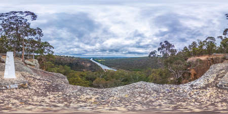 Spherical panoramic photograph from Portal Lookout overlooking Nepean River in the Blue Mountains in New South Wales in Australia