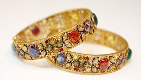 gold metal: gold bracelets Stock Photo
