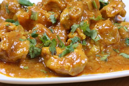 spicy chicken: chicken curry close up Stock Photo