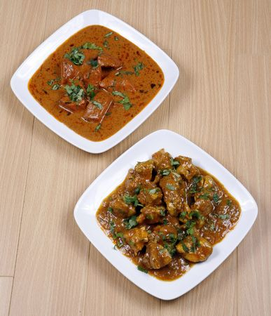 butter chicken and chicken curry photo
