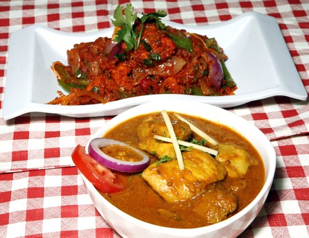 chicken curry and chilli chicken Stock Photo