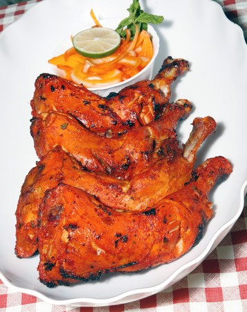 tandoori chicken legs with salad