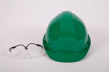 hard: safety glasses and hard hat Stock Photo