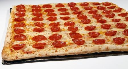 square: square pepperoni pizza