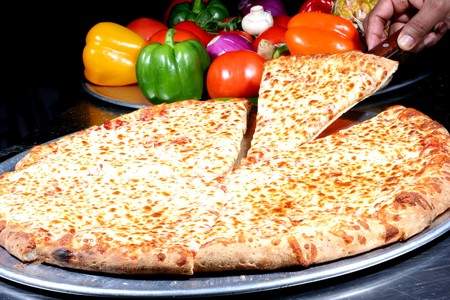 cheese pizza with toppings Stock Photo