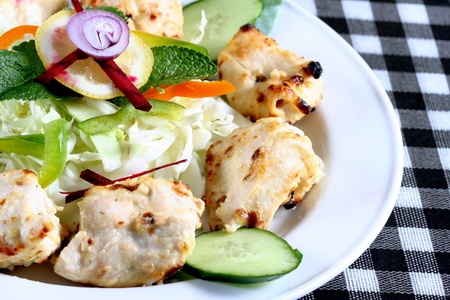 Seekh kebab with salad Stock Photo