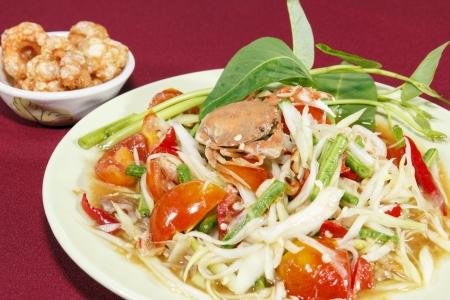 The thailand Green papaya salad