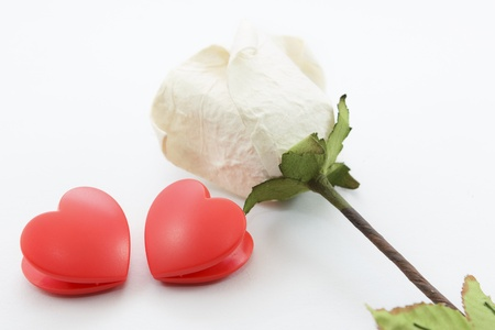 Paper rose and two heart on white background Stock Photo - 17451452