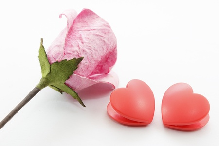 Paper rose and two heart on white background Stock Photo - 17451460