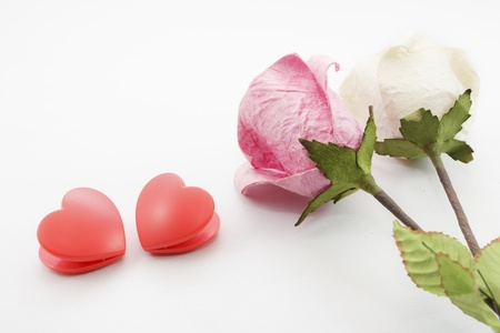 Paper rose and two heart on white background Stock Photo - 17451457
