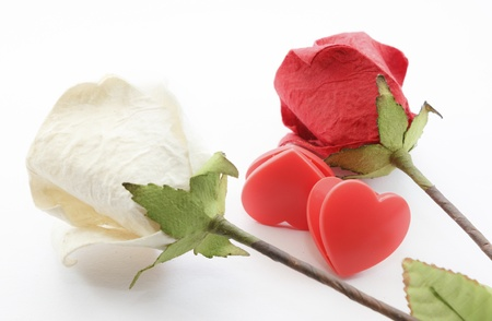 Paper rose and two heart on white background Stock Photo - 17451438