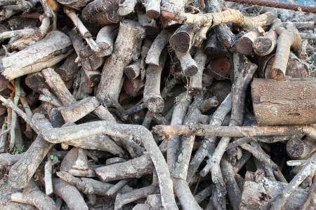 kindling: firewood in a pile for furnace kindling Stock Photo