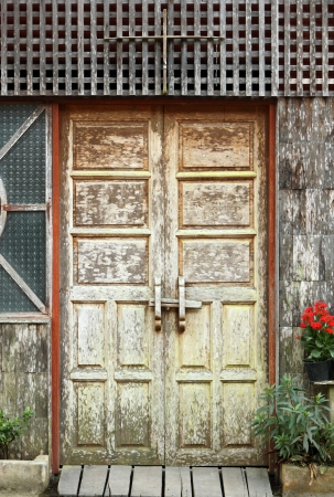 old wooden door frame photo