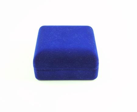 Blue velvet box on white background Stock Photo