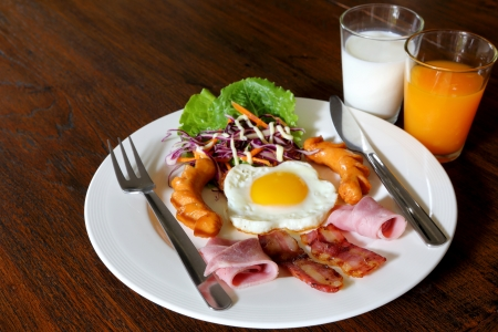 Breakfast with bacon, fried egg,sausages on grunge wood Stock Photo - 18207079