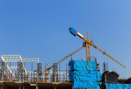 Crane working in construction site Stock Photo - 18458910