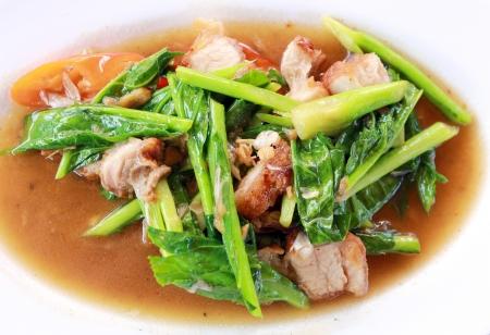 Kale with crispy pork Stock Photo
