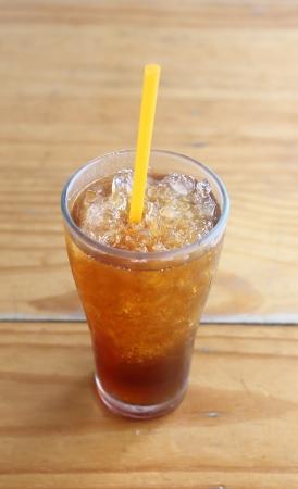 Ice tea on wood table