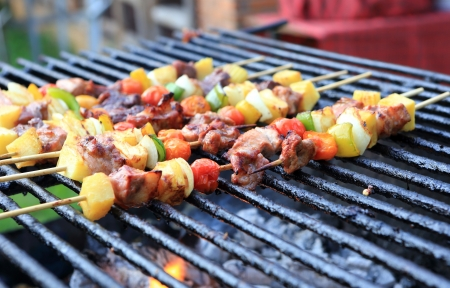 Bar-B-Q or BBQ with kebab cooking. coal grill of chicken meat