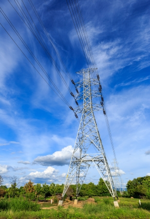 high voltage post High-voltage tower on blue sky