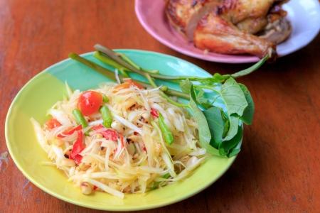 Green papaya salad with Grilled chicken Stock Photo - 20642067
