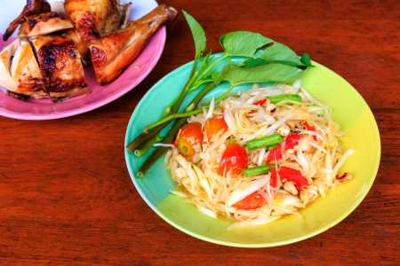 Green papaya salad with Grilled chicken photo