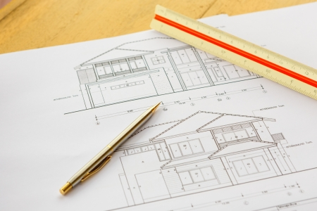 architecture drawingswith pencil and ruler photo