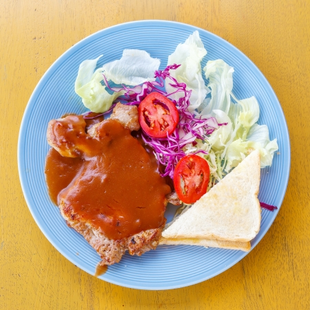 grilled pork steak with bread Stock Photo - 21297240