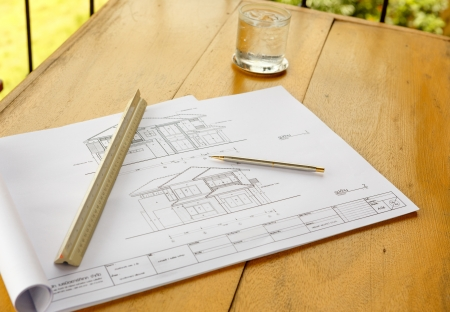 architecture drawingswith pencil and ruler