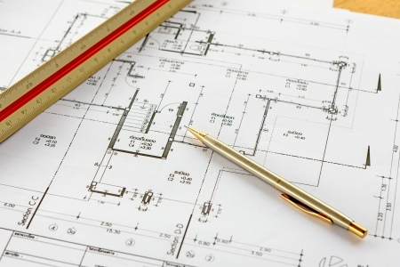 architecture drawings with pencil and ruler Stock Photo