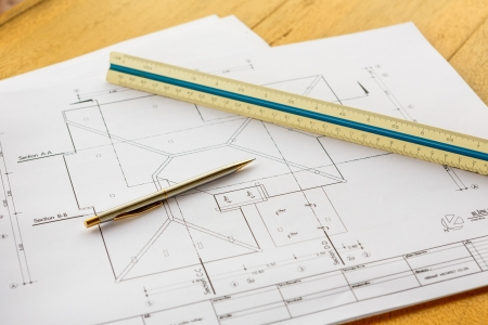 architecture drawings with pencil and ruler photo