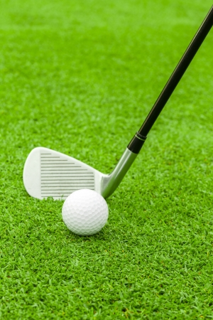 그린 코스 드라이버의 앞에 티에 골프 공 스톡 콘텐츠 - 21726678