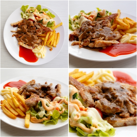 set of grilled pork steak with potato and salad Stock Photo - 22336484