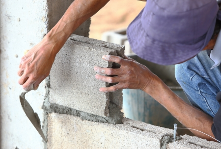 Brick wall construction for house building  photo