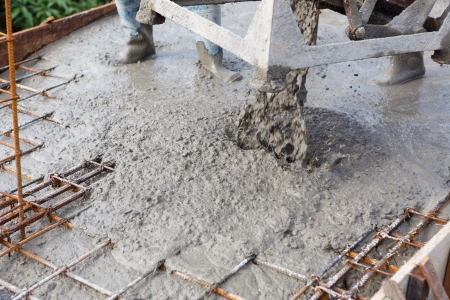 Cement pouring for house construction  photo
