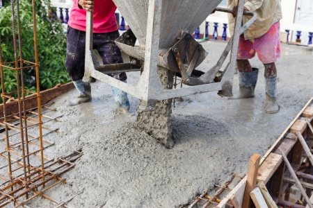 Cement pouring for house construction